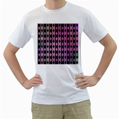 Old Version Plaid Triangle Chevron Wave Line Cplor  Purple Black Pink Men s T Shirt (white) (two Sided)