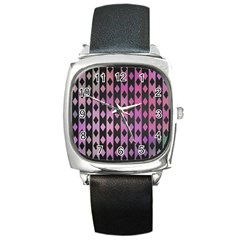 Old Version Plaid Triangle Chevron Wave Line Cplor  Purple Black Pink Square Metal Watch