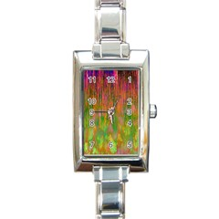 Abstract Trippy Bright Melting Rectangle Italian Charm Watch