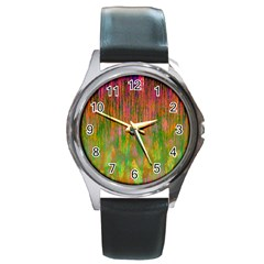 Abstract Trippy Bright Melting Round Metal Watch