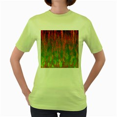 Abstract Trippy Bright Melting Women s Green T-Shirt