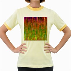 Abstract Trippy Bright Melting Women s Fitted Ringer T-Shirts