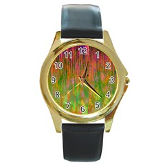 Abstract Trippy Bright Melting Round Gold Metal Watch