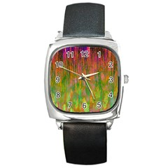 Abstract Trippy Bright Melting Square Metal Watch