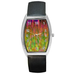 Abstract Trippy Bright Melting Barrel Style Metal Watch