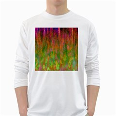 Abstract Trippy Bright Melting White Long Sleeve T-Shirts