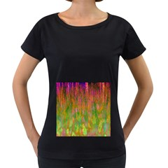 Abstract Trippy Bright Melting Women s Loose-Fit T-Shirt (Black)