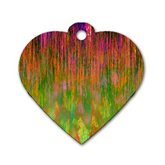 Abstract Trippy Bright Melting Dog Tag Heart (one Side)