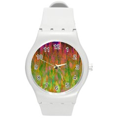 Abstract Trippy Bright Melting Round Plastic Sport Watch (M)