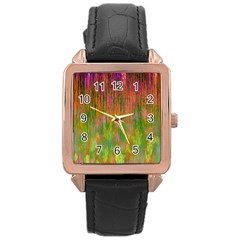 Abstract Trippy Bright Melting Rose Gold Leather Watch