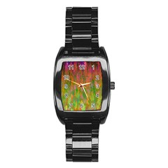 Abstract Trippy Bright Melting Stainless Steel Barrel Watch