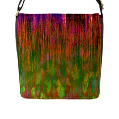 Abstract Trippy Bright Melting Flap Messenger Bag (L)