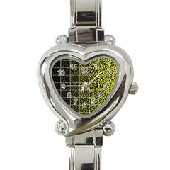 Pixel Gradient Pattern Heart Italian Charm Watch