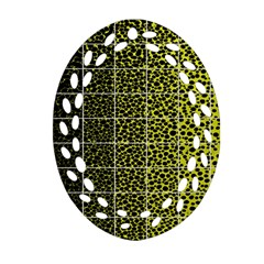 Pixel Gradient Pattern Oval Filigree Ornament (Two Sides)