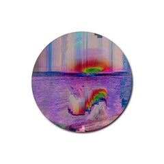 Glitch Art Abstract Rubber Round Coaster (4 Pack)