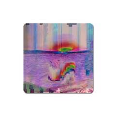 Glitch Art Abstract Square Magnet