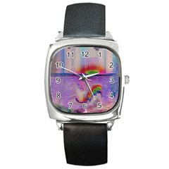 Glitch Art Abstract Square Metal Watch