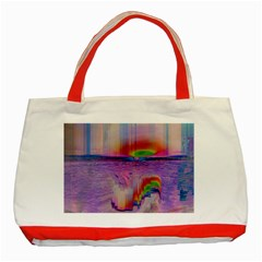 Glitch Art Abstract Classic Tote Bag (Red)