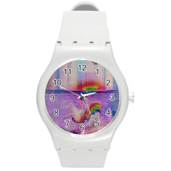 Glitch Art Abstract Round Plastic Sport Watch (M)