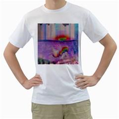 Glitch Art Abstract Men s T-Shirt (White)