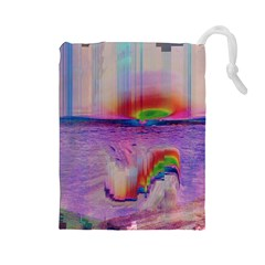 Glitch Art Abstract Drawstring Pouches (Large)