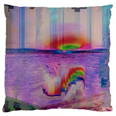 Glitch Art Abstract Large Flano Cushion Case (One Side)