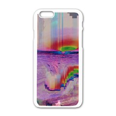 Glitch Art Abstract Apple iPhone 6/6S White Enamel Case
