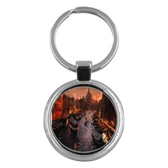 River Venice Gondolas Italy Artwork Painting Key Chains (round)