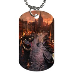 River Venice Gondolas Italy Artwork Painting Dog Tag (two Sides)