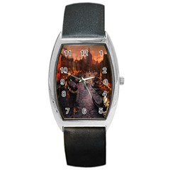 River Venice Gondolas Italy Artwork Painting Barrel Style Metal Watch