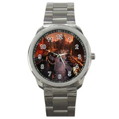 River Venice Gondolas Italy Artwork Painting Sport Metal Watch