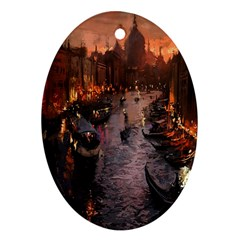 River Venice Gondolas Italy Artwork Painting Oval Ornament (Two Sides)
