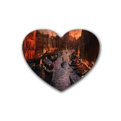 River Venice Gondolas Italy Artwork Painting Heart Coaster (4 Pack)