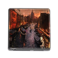 River Venice Gondolas Italy Artwork Painting Memory Card Reader (square)