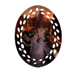 River Venice Gondolas Italy Artwork Painting Oval Filigree Ornament (Two Sides)