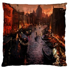 River Venice Gondolas Italy Artwork Painting Large Cushion Case (two Sides)