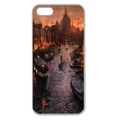 River Venice Gondolas Italy Artwork Painting Apple Seamless iPhone 5 Case (Clear)