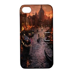 River Venice Gondolas Italy Artwork Painting Apple Iphone 4/4s Hardshell Case With Stand