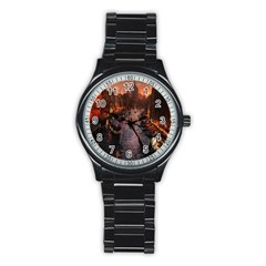 River Venice Gondolas Italy Artwork Painting Stainless Steel Round Watch