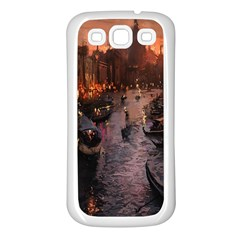 River Venice Gondolas Italy Artwork Painting Samsung Galaxy S3 Back Case (White)