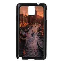 River Venice Gondolas Italy Artwork Painting Samsung Galaxy Note 3 N9005 Case (black)