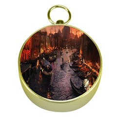 River Venice Gondolas Italy Artwork Painting Gold Compasses
