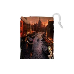 River Venice Gondolas Italy Artwork Painting Drawstring Pouches (small)