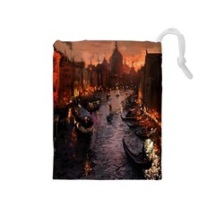 River Venice Gondolas Italy Artwork Painting Drawstring Pouches (Medium)