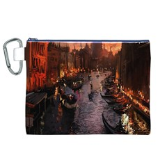 River Venice Gondolas Italy Artwork Painting Canvas Cosmetic Bag (XL)