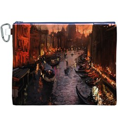 River Venice Gondolas Italy Artwork Painting Canvas Cosmetic Bag (XXXL)