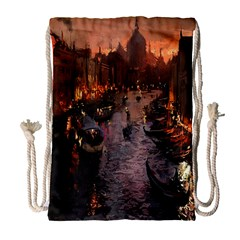 River Venice Gondolas Italy Artwork Painting Drawstring Bag (large)
