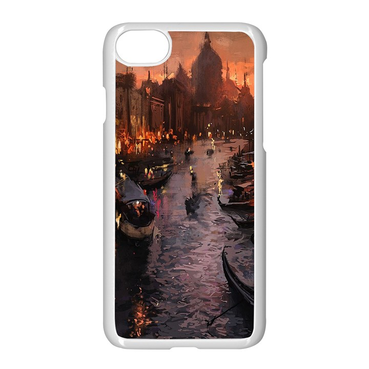 River Venice Gondolas Italy Artwork Painting Apple iPhone 7 Seamless Case (White)