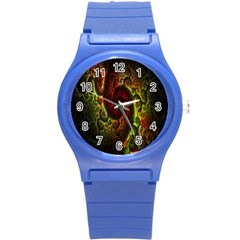 Fractal Digital Art Round Plastic Sport Watch (S)