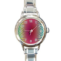 Abstract Circle Colorful Round Italian Charm Watch